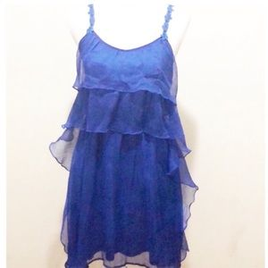 Blue ruffle tulle mini dress